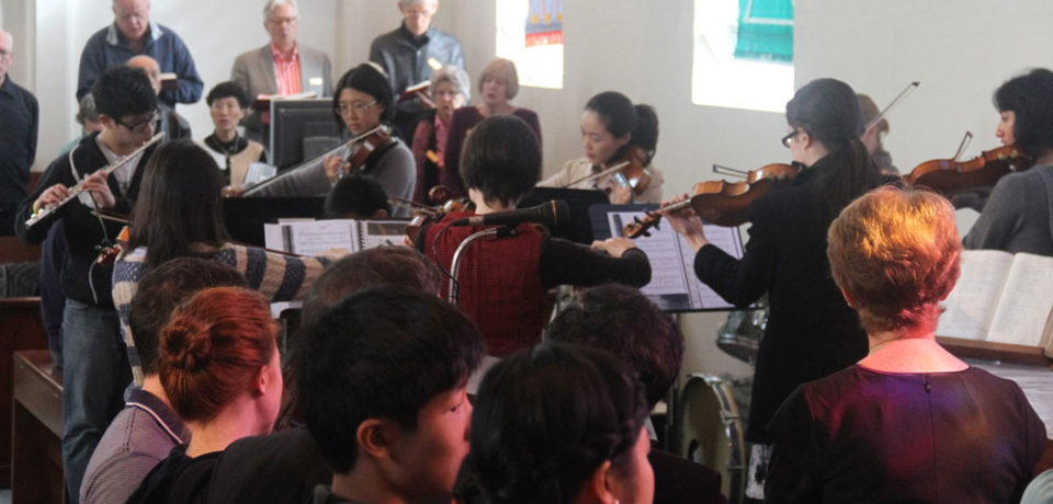 Church services with string instruments